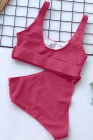 Rose Textured Buckle Front Top With High Waist Bikini