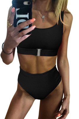 Black Textured Buckle Front Top With High Waist Bikini