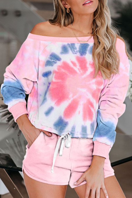 Pink Tie Dye Printed Long Sleeve Tops and Shorts Pajamas Set