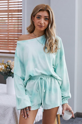 Sky Blue Tie-dye Pajamas Loungewear Set