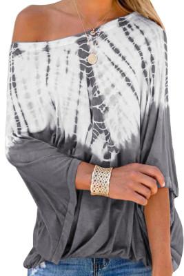 Blusa con estampado tie dye casual gris de moda