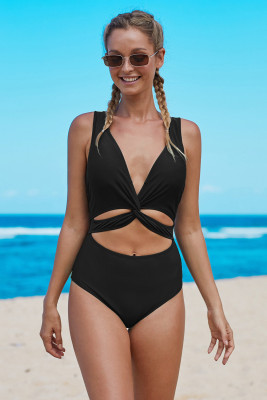 Black Twisted Ruched Hollow Out One-piece Swimwear