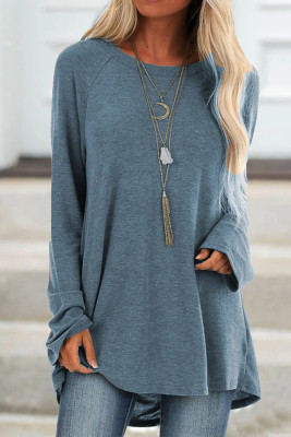 Blue Knit Tunic Top