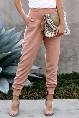 Розовые хлопковые джоггеры с карманами