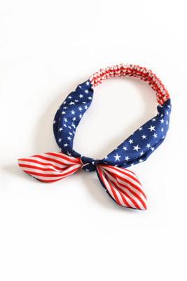 Bandeau à noeud croisé imprimé drapeau rayures et étoiles