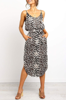Stylish Leopard Printed Midi Dress