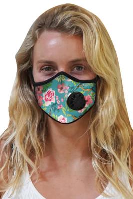Máscara de carbón activado impresa en verde con válvula de exhalación
