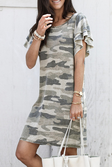 Khaki Pile Of Sleeves Camouflage Dress