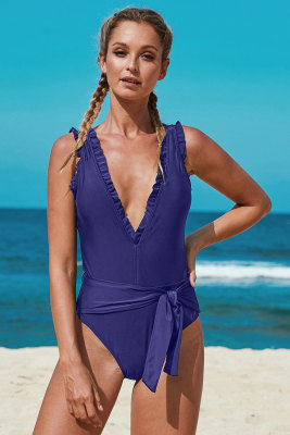 Blue Deep V Neck Frill Detail One-piece Swimwear with Belt