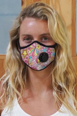 Masque à charbon actif imprimé rose avec soupape d'expiration