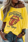 T-shirt jaune THE ROLLING STONES US TOUR