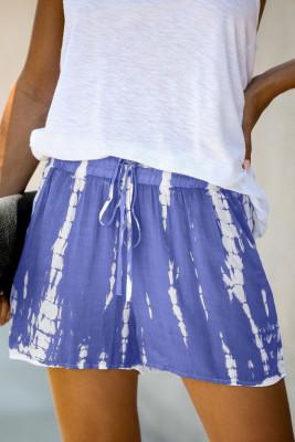 Shorts casuales con cordón tie dye azul