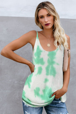 Green Tie Dye Print Strick Tank Top