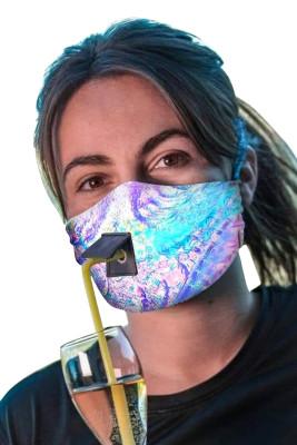 Masque réutilisable multicolore Tie Dye avec trou de paille
