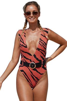Swimwear de uma peça com cinto com estampa animal laranja