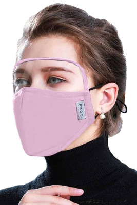 Pink Dustproof Windproof Outdoor Eyes Shield Face Mask with 2 Filters