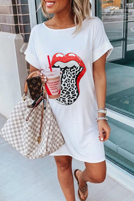 White Lip Print Summer Casual Tee Mini Dress