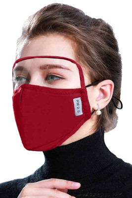 Red Dustproof Windproof Outdoor Eyes Shield Face Mask with 2 Filters