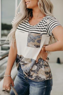 T-shirt à poche camouflage colorblock