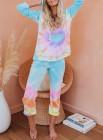 Mehrfarbige Utopia Baumwollmischung Tie Dye Hoodie Joggers Loungewear