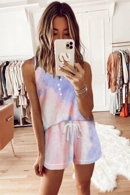 Pink Tie-dye Knit Sleeveless Shorts Pajamas Set