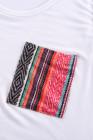 Weißes lässiges Damen-Tanktop mit mehrfarbiger Tasche