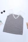 Camiseta sin mangas de encaje gris