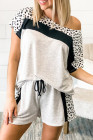 Gray Dotted Print Colorblock Tee Shorts Loungewear