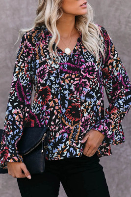 Black Split Neck Printed Blouse