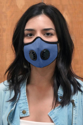 Himmelblaue Unisex-Gesichtsmaske mit Doppelventilen