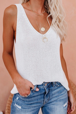 White Knit Tank Top