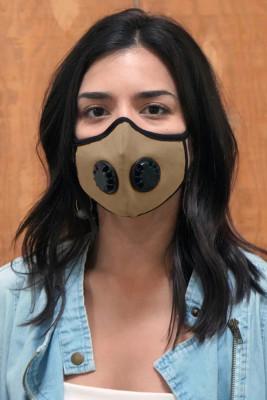 Khaki Unisex Gesichtsmaske mit Doppelventilen