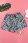 Camouflage Print Drawstring Casual Elastic Waist Pocketed Shorts