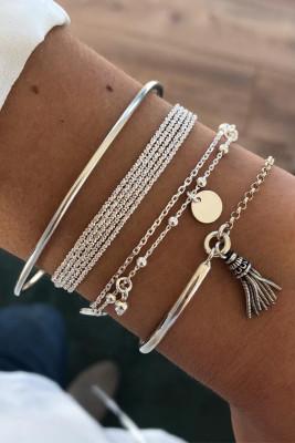 Meerlagige ketting schijf kwast hanger zilverkleurige armband set