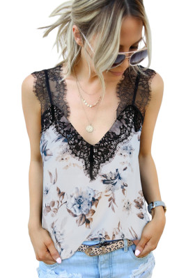White Floral Lace Shoulder Tank Top