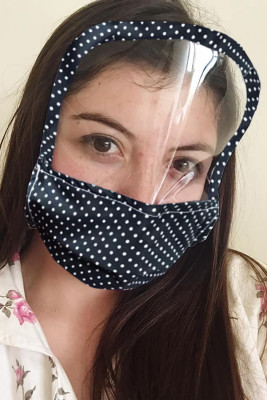 Washable Reusable Dotted Print All Cover Face Mask with Shield