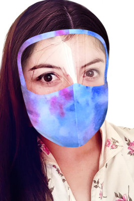 Sky Blue Tie Dye mascarilla con escudo transparente