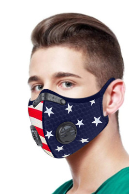 Star Stripes Print Double Air Breathing Valve Sky Blue Anti Flu Mask