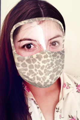 Brown Leopard Face Mask with Transparent Shield