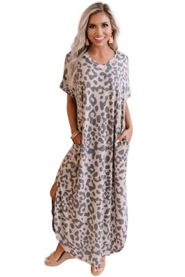فستان ماكسي كاجوال بنقشة جلد الفهد مع شقوق