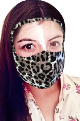 Masque léopard abricot avec bouclier transparent