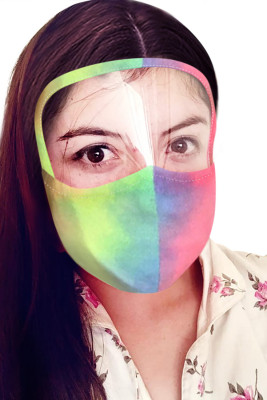 Multicolor Tie Dye Face Mask with Transparent Shield