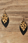 Leopard Printed Double-Layered Black Leather Earrings