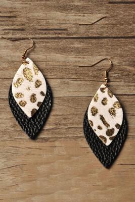 Gouden luipaard bedrukte dubbellaagse lederen oorbellen