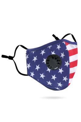 Masque facial au charbon actif anti-pollution avec impression de drapeau américain avec valve respiratoire