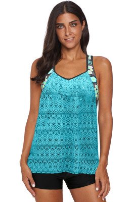 Green Printed Patchwork Vest Tankini Top
