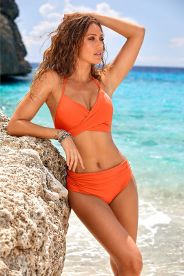 Orange Crisscross Ruched High Waist Bikini