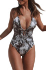 Gray Tie Dye Lace Up Front Plunging V One Piece Swimsuit