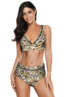 Leopard Print V Neck Hollow Out High Waist Bikini