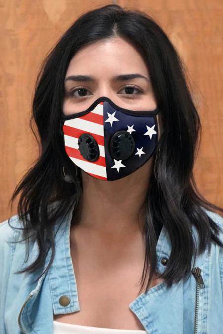 Mehrfarbige Unisex-Gesichtsmaske mit amerikanischer Flagge und Doppelventilen